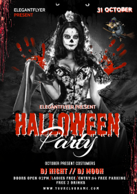 Halloween party flyer template A4