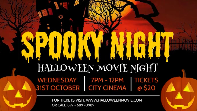 Halloween Party flyers Facebook-omslagvideo (16: 9) template