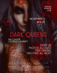 Halloween Party Girl Creepy Flyer Template