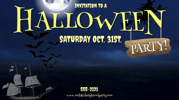 HALLOWEEN PARTY IN. JUST MUSIC NO STORM SOUND Digitalt display (16:9) template