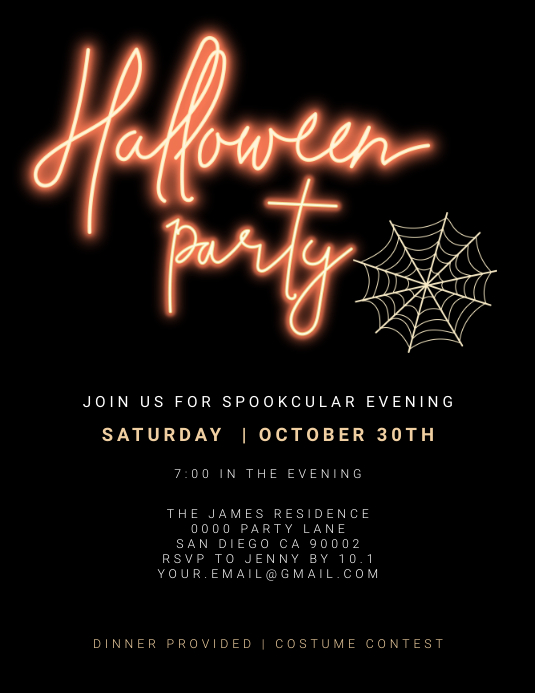 Halloween party invitation Flyer (format US Letter) template