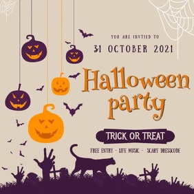 Halloween Party Invitation Instagram Post template