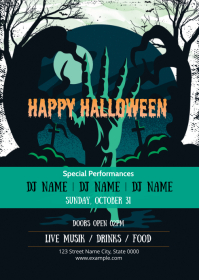 Halloween Party Invitation Flyer A6 template