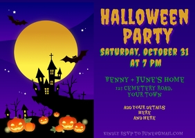 Halloween Party Invitation Postcard template
