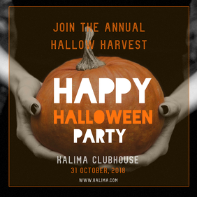 Halloween Party Invitation Square Image Template with Pumpki