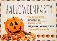 Halloween Party Invite Post Card Template Pocztówka