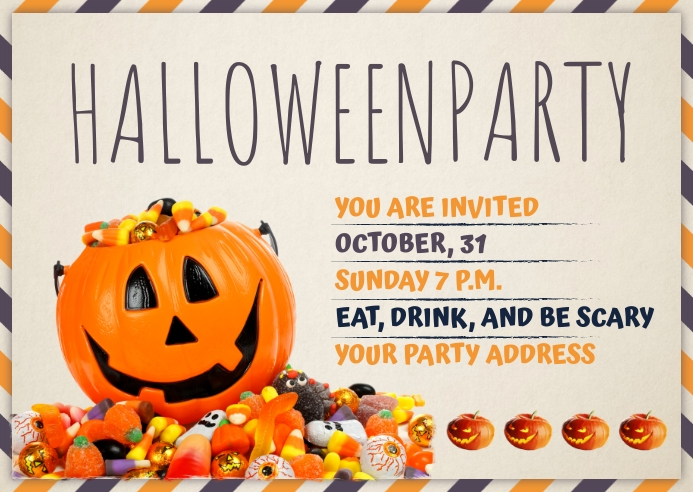 Halloween Party Invite Post Card Template Postcard