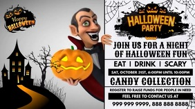 Halloween Party Invite Promo Template Vidéo de couverture Facebook (16:9)