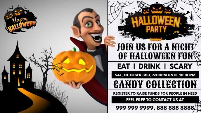 Halloween Party Invite Promo Template Vidéo de couverture Facebook (16:9)