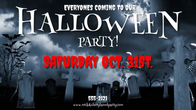 HALLOWEEN PARTY INVITE W. MUSIC Digitale Vertoning (16:9) template