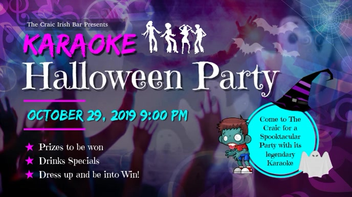 Halloween Party Karaoke Video Template Digital Display (16:9)