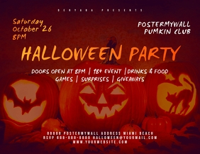 Halloween Party Landscape Flyer Template