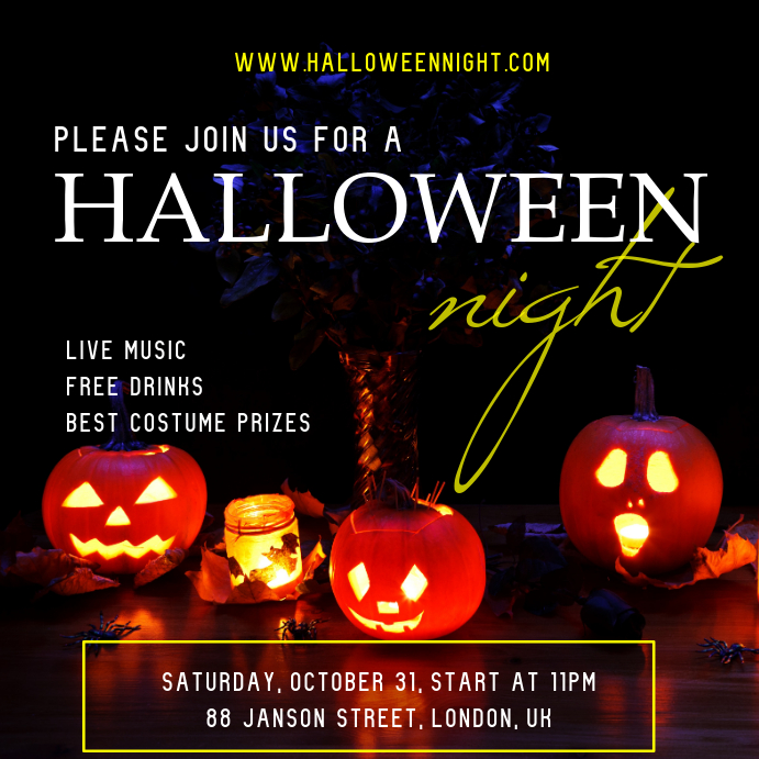 Halloween Party Night Invitation Instagram Post Template