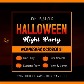 Halloween Party Night Square Ad Template