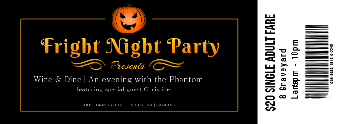 halloween party night ticket design template postermywall
