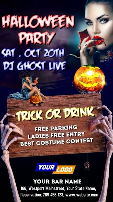 Halloween Party Night Video Digital Display (9:16) template