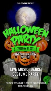 Halloween Party Portrait Digital Display Video