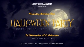 Halloween Party Poster Digitalt display (16:9) template