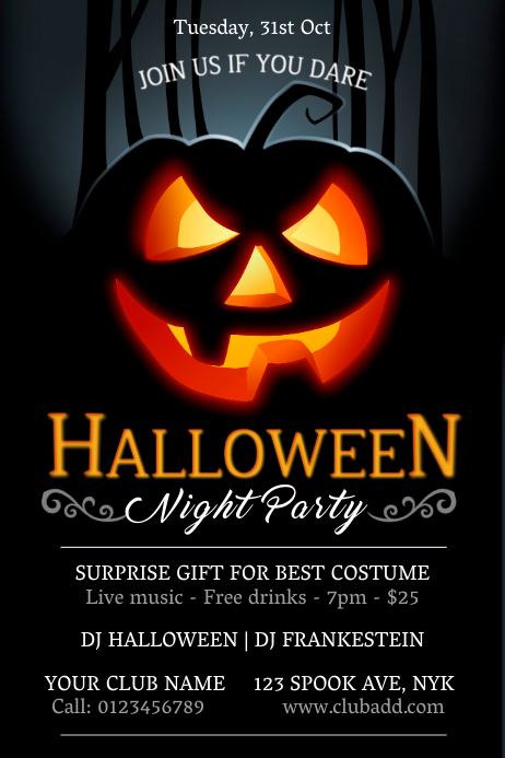 Halloween Party Poster Template Plakat