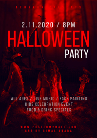 Halloween Party Red A4 Flyer template