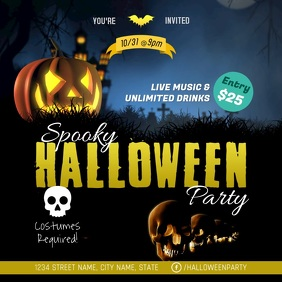 Halloween Party Social Media Ad Template