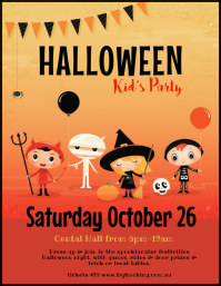 Halloween party trick or treat poster flyer