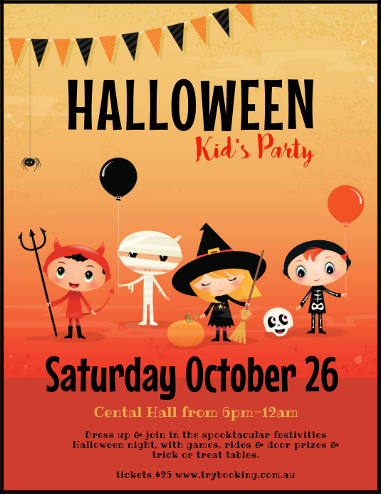 Halloween party trick or treat poster flyer ใบปลิว (US Letter) template