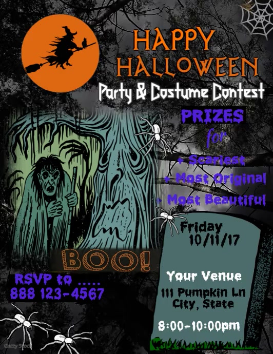 Halloween Party Video Flyer (Letter pang-US) template