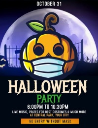 Halloween Party Video Poster Template Flyer (US Letter)
