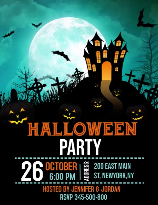 Halloween party video template Løbeseddel (US Letter)