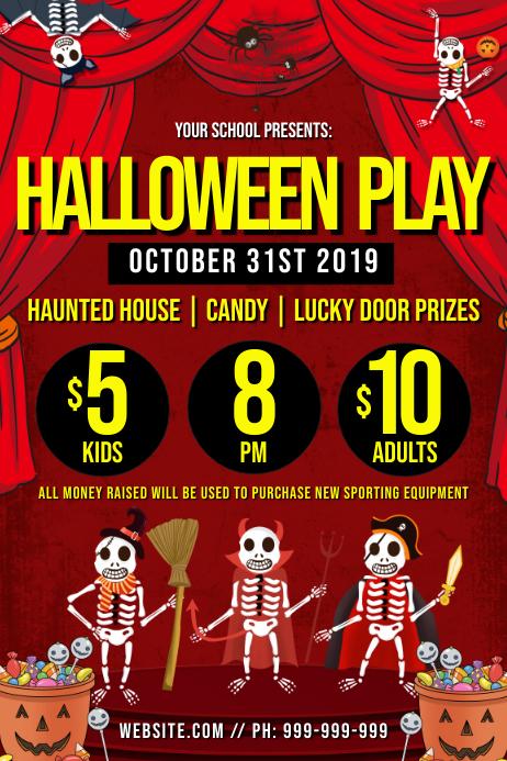 Halloween Play Poster 海报 template