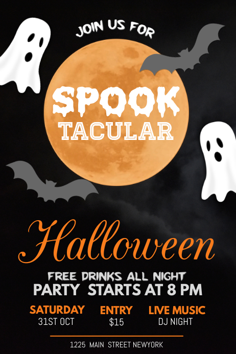 halloween poster template, halloween flyer โปสเตอร์