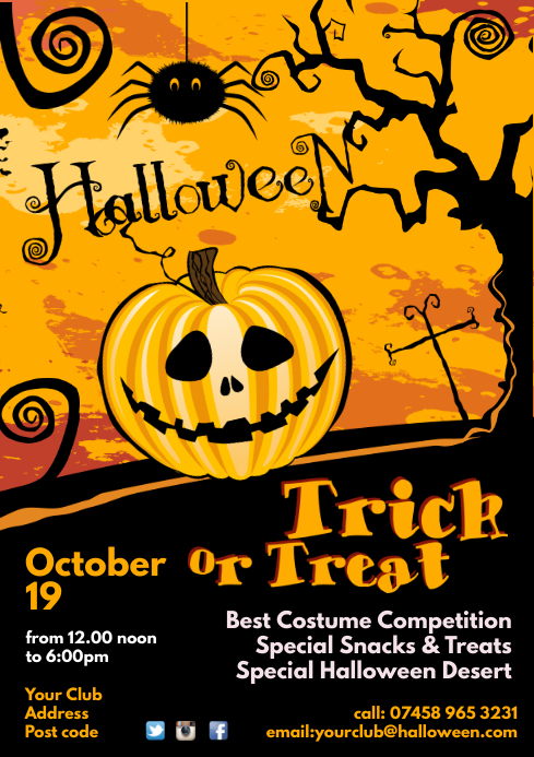 halloween poster template postermywall