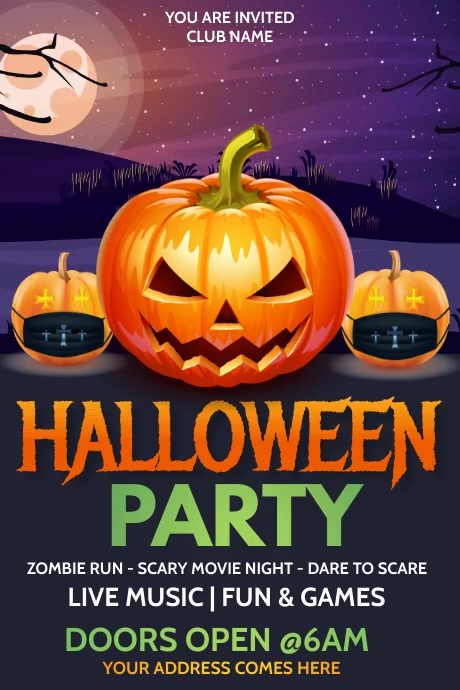 Halloween Posters rick or treat Plakat template