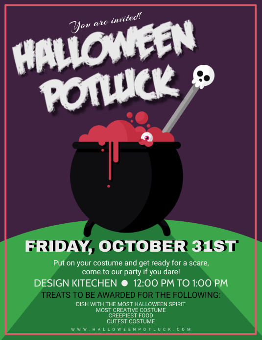 Halloween Potluck Costume Party Poster Design Template Postermywall