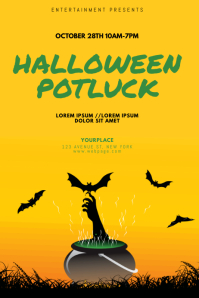 Halloween Potluck Flyer Design Template