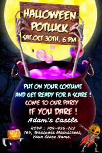 Halloween Potluck Party Plakat template