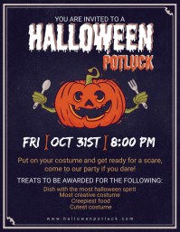 Halloween Potluck Party Poster Template