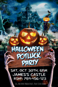 Halloween Potluck Party Template Affiche