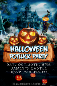 Halloween Potluck Party Template Poster
