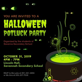 Halloween Potluck Party Video Ad Square (1:1) template