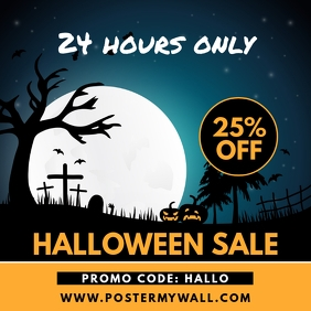 Halloween Promo Square Sale Banner