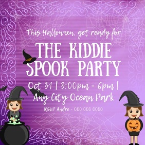 Halloween Purple Kids Party Square Video