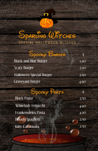 Halloween Restaurant Half Page Wide Menu