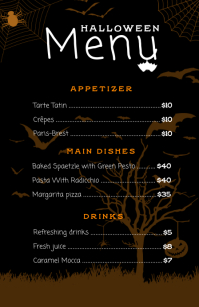 Halloween Restaurant Menu Card Template Half Page Wide