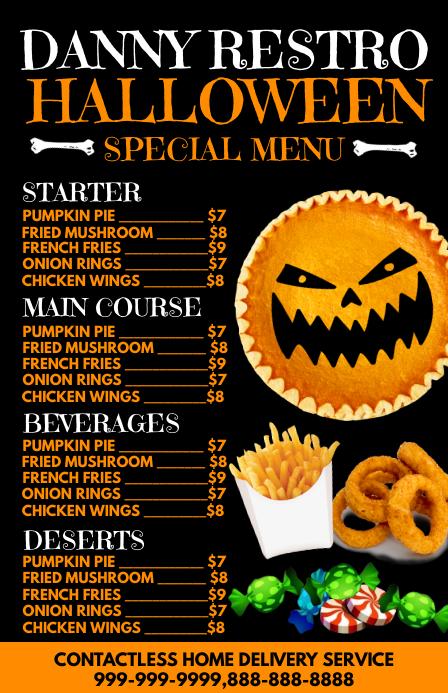 Halloween Restaurant Offer Menu Card Template 小报