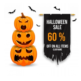 Halloween sale, Pumpkin carving contest Cuadrado (1:1) template
