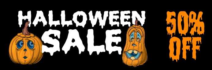 Halloween sale Banner 2' × 6' template