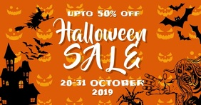 Halloween sale Facebook begivenhed cover template