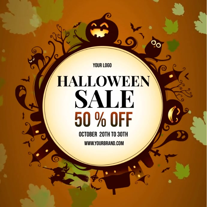halloween sale instagram template, fall sale Instagram-opslag